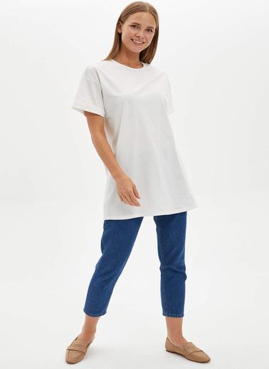 DeFacto Uzun T-shirt Ekru